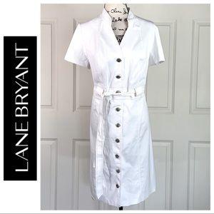 NWT Lane Bryant White Belted Shirt Dress